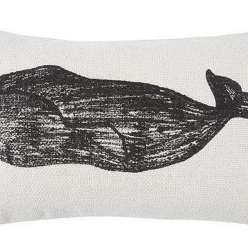 Thomas Paul Whale and Stripe Sketch Grain Sack Pillow