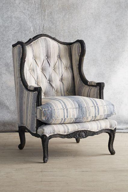 Fourier White And Blue Wingback Chair