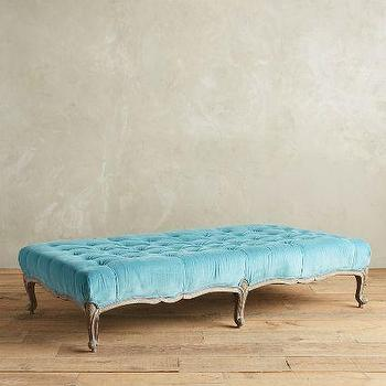 Super Tufted X Base Blue Ottoman Gmtry Best Dining Table And Chair Ideas Images Gmtryco