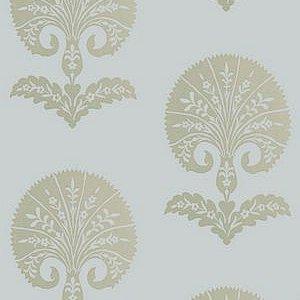 Schumacher Ottoman Gold Flower Heliotrope Wallpaper