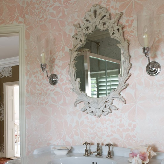 Bathroom With Pink Foliage Wallpaper