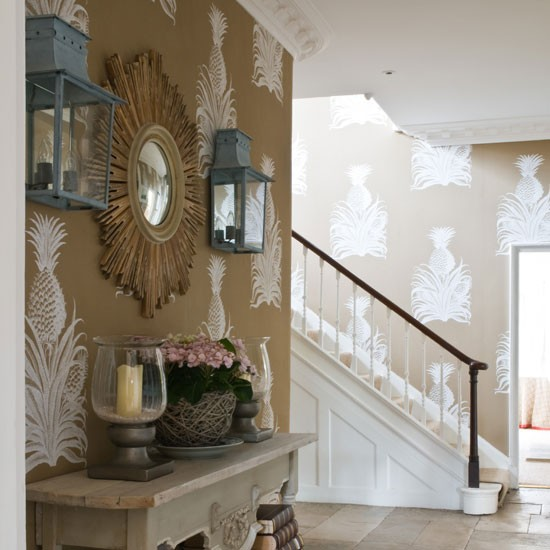 Wallpaper For Foyer Cottage Entrance Foyer Thibaut