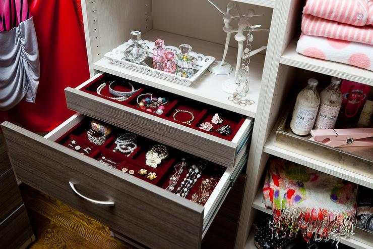 Red Velvet Lined Jewelry Drawers Transitional Closet