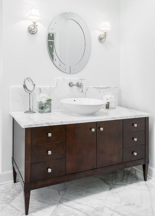 Dark Brown Footed Bathroom Vanity Transitional Bathroom - Dark colored bathrooms