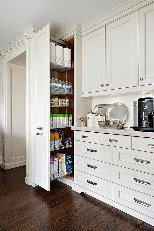 Interior Floor To Ceiling Kitchen Cabinets floor to ceiling pantry cabinets design ideas fabulous kitchen features ivory raised panel paired with grey quartzite counters and a beadboard backsplash coffee station next to