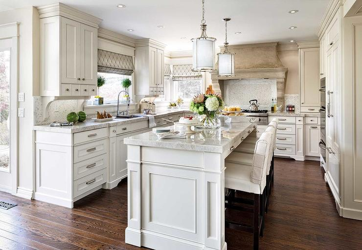 Beautiful White French Kitchens kitchen island with french corbels - french - kitchen