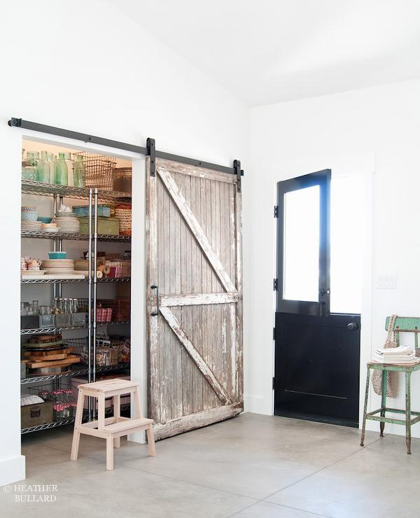 Kitchen Pantry With Distressed Barn Door Cottage Kitchen