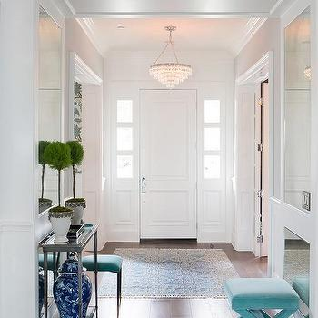 Foyer with Turquoise Accents, Transitional, Entrance/foyer