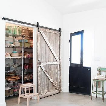 Kitchen Pantry with Distressed Barn Door, Cottage, Kitchen