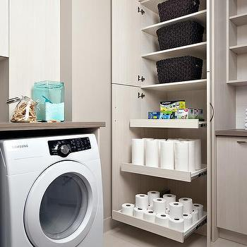 Laundry Room with Pull Out Shelves, Contemporary, Laundry Room