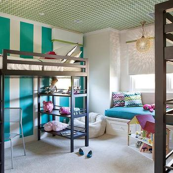Kids Room with Striped Accent Wall, Contemporary, Girl's Room