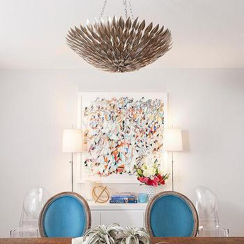 Dining Room withTurquoise Dining Chairs, Contemporary, Dining Room