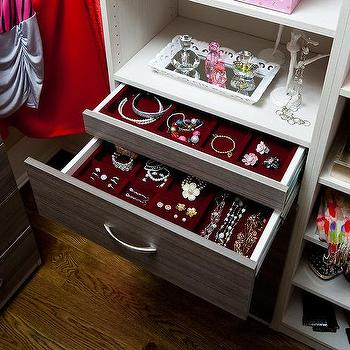 Clsoet With Red Velvet Jewelry Drawers
