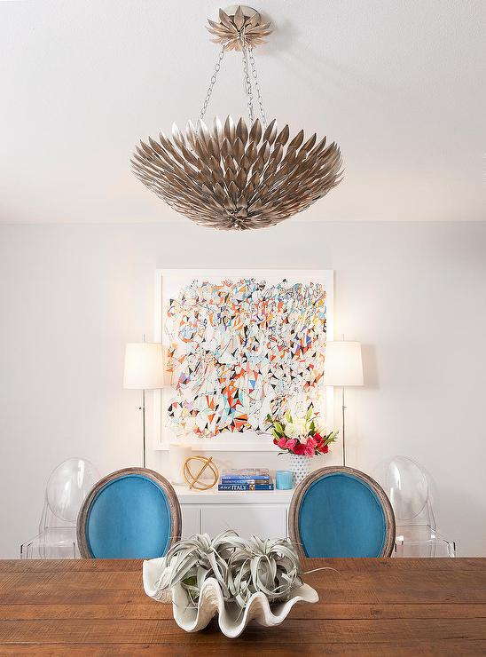Dining Room WithTurquoise Chairs View Full Size
