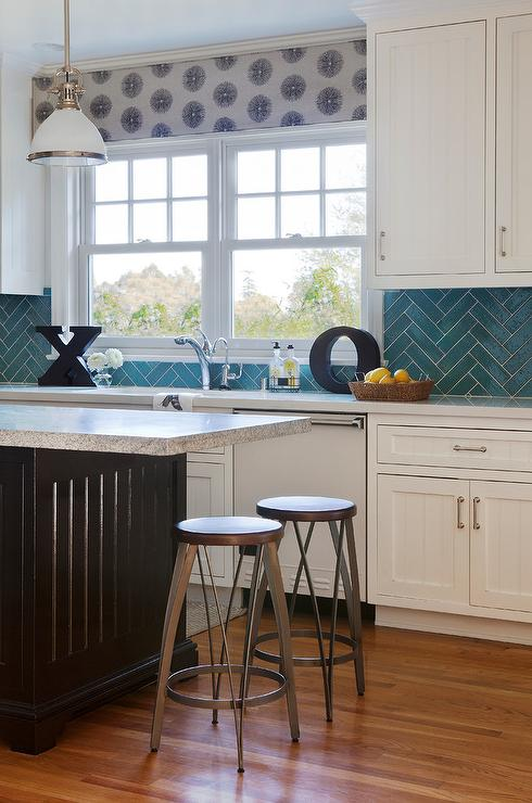 Kitchen With Turquoise Herringbone Backsplash