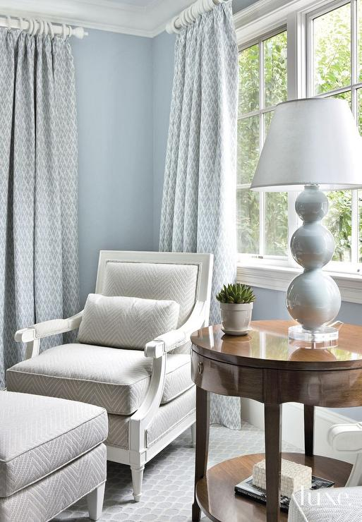 Superbe Chic Bedroom Reading Corner Boasts A Chair And Ottoman Upholstered In Gray  Chevron Fabric Illuminated By A Gray Triple Gourd Lamp Atop A Round Wood  Table ...