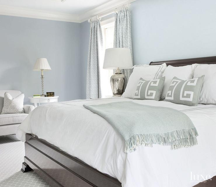 Blue Bedroom With Gray Accents