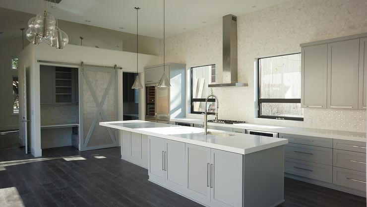Butlers Pantry with Gray Barn Door - Contemporary - Kitchen