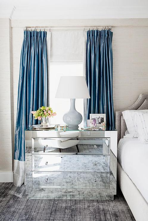 blue and gray curtains transitional bedroom