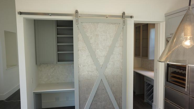 Awesome Butlers Pantry With Gray Barn Door
