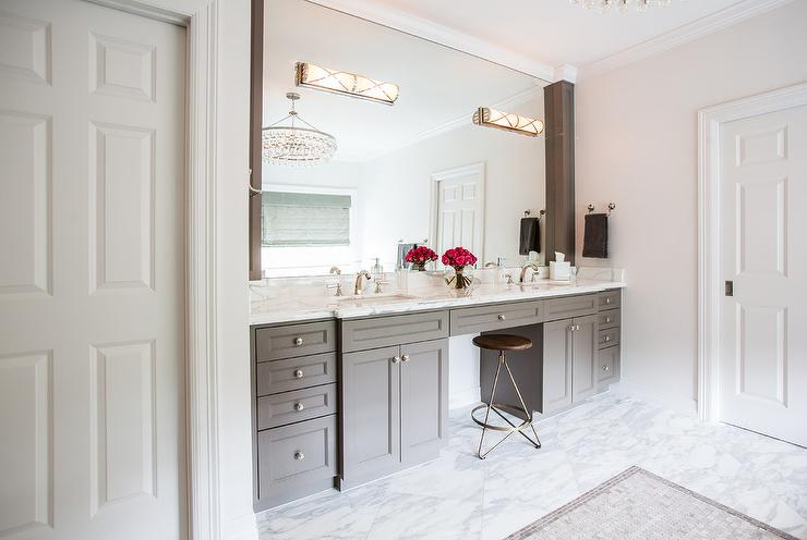 gray double bathroom vanity with white marble top - Double Sconce Bathroom Lighting