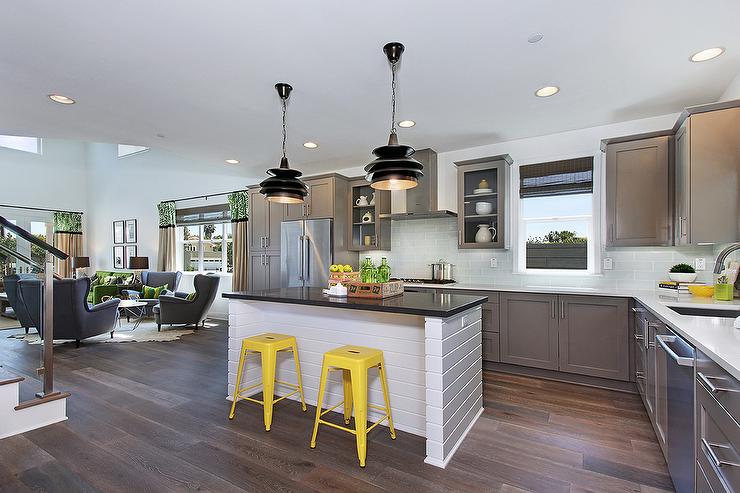 Gray kitchen with yellow stools contemporary kitchen for Grey yellow kitchen ideas