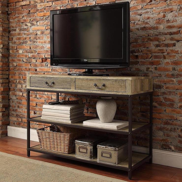 Sadie industrial rustic brown open shelf drawers media console