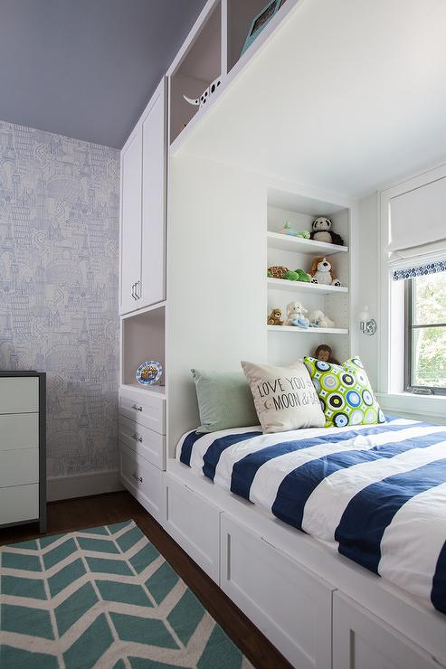 Kids Bed With Overhead Compartments Contemporary Boy S