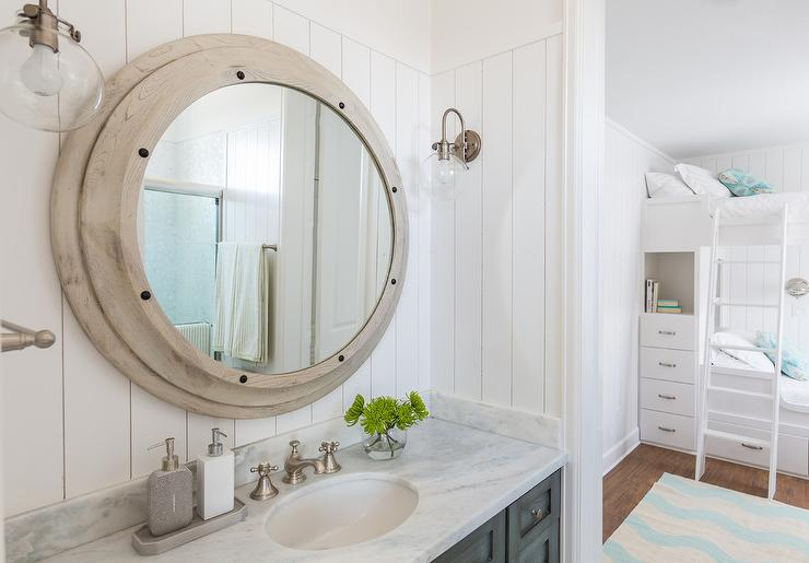 Kids Cottage Bathroom With Shiplap Walls