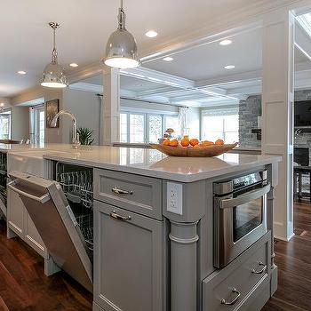 Kitchen Island with Double Dishwashers, Transitional, Kitchen, Benjamin Moore Willow Creek
