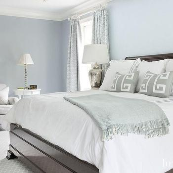 Blue Bedroom with Gray Accents, Transitional, Bedroom