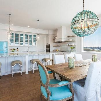 Dining Room with Turquoise Accents, Cottage, Kitchen