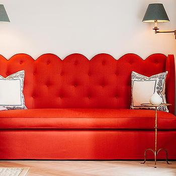 Red Scalloped Sofa, Transitional, Entrance/foyer