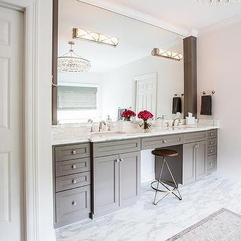 Gray Double Bathroom Vanity with White Marble Top, Transitional, Bathroom