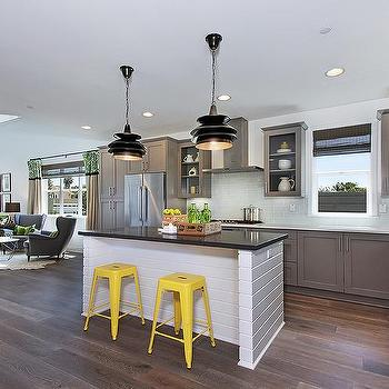 Gray Kitchen with Yellow Stools, Contemporary, Kitchen