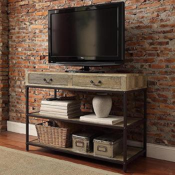 Sadie Industrial Rustic Open Shelf Drawers Media Console