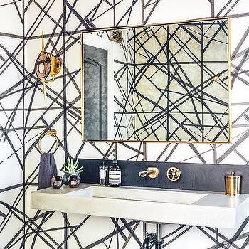 Kelly Wearstler Channels Wallpaper, Contemporary, Bathroom