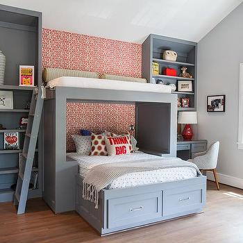 Kids Bed with Overhead Loft, Contemporary, Boy's Room