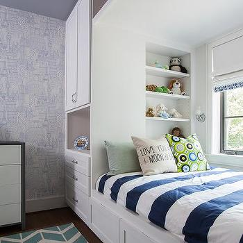 Kids Bed with Overhead Compartments, Contemporary, Boy's Room
