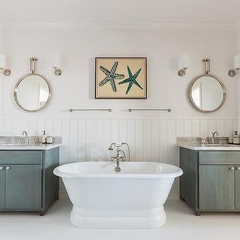 Cottage Bathroom with Gray Wash Washstands, Cottage, Bathroom