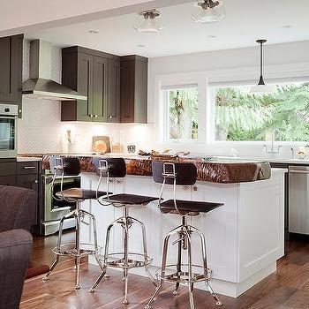 Dark gray shaker kitchen cabinets transitional kitchen for Live edge kitchen island