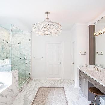 White and Gray Master Bathroom Design, Transitional, Bathroom