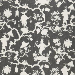Schumacher Shantung Silhouette Print Smoke Fabric