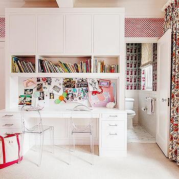 Shared Kids Desk with Bulletin Board Backsplash, Contemporary, Girl's Room