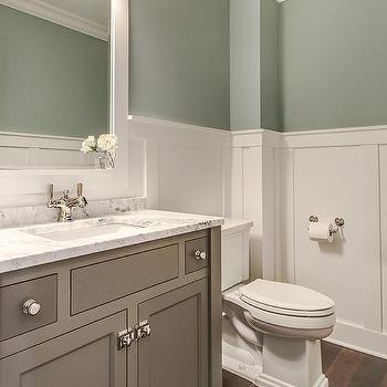 Washstand painted gray design ideas for Green and gray bathroom designs