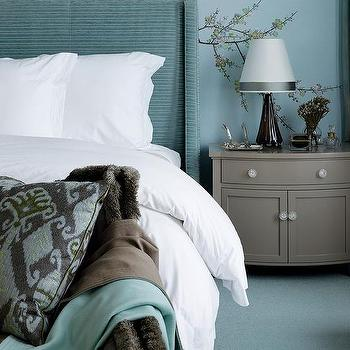Oatmeal Linen Camelback Headboard With Blue Pillows