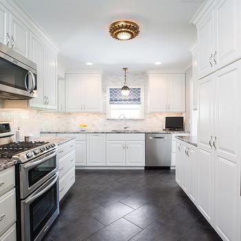 White Kitchen Cabinets With Gray Granite Countertops full height pantry cabinets design ideas