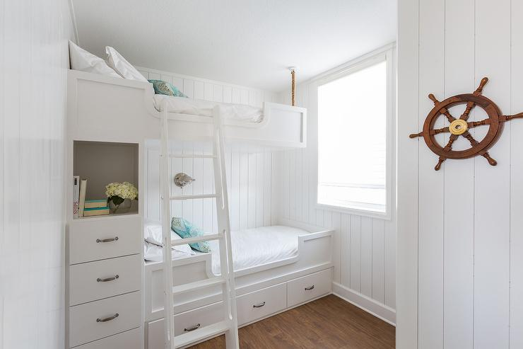 cool bunk beds built into wall. Nautical Kids\u0027 Bedroom Design Features Walls Clad In Vertical Shiplap Lined With Built Bunk Beds, Top Suspended By Ropes From The Ceiling, Cool Beds Into Wall E