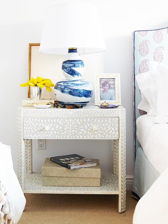 Greatest Grey & Mother of Pearl Bedside Table - Graham and Green NR86