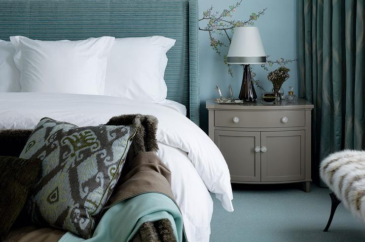 Turquoise And Gray Bedrooms Contemporary Bedroom